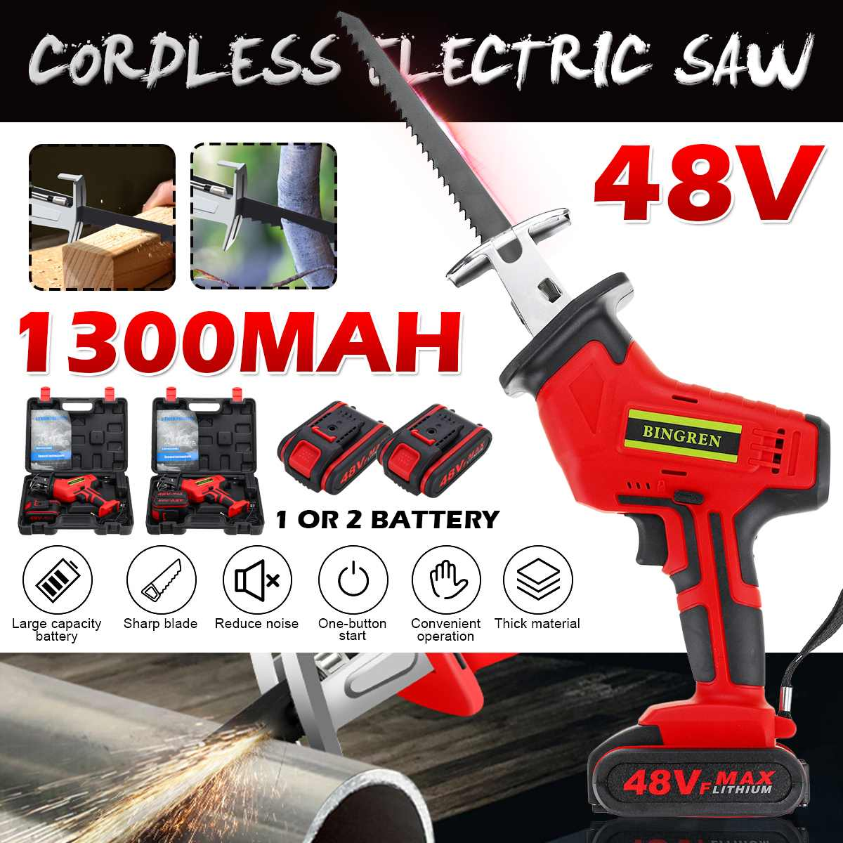 48V Portable Cordless Reciprocating Saw Rechargeable Electric Saw with 1/2 Li-ion Battery Blade Wood Metal Cutting Tool Kit