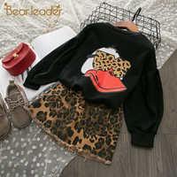 Urso líder conjunto de roupas da menina nova marca crianças roupas meninas conjunto manga longa superior + saias terno 2 pçs leopardo roupa das crianças