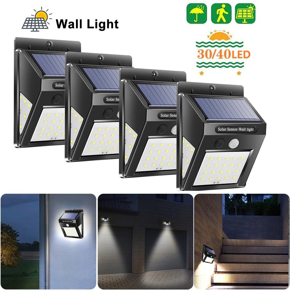 4pcs 30/40 LED Outdoor Solar Light Waterproof Energy Saving PIR Motion Sensor Solar Wall Lamp Emergency Garden Yard Lights