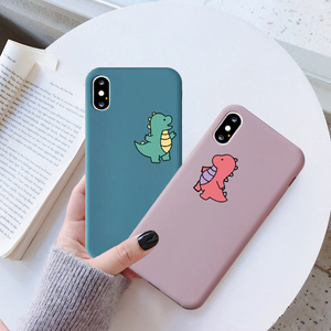 Чехол для телефона с изображением динозавра из мультфильма для iPhone 7, 11 Pro, X, XS, MAX, XR, 8, 6 Plus, милая мягкая задняя крышка с изображением дракона, карамельный цвет