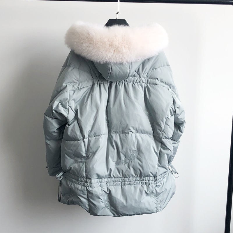 New Winter Large Natural Fox Fur Hooded Jacket Warm 90% White Duck Down Parka Women Loose Thickness Snow Down Outwear