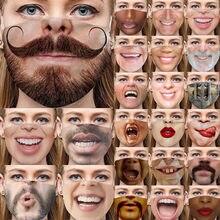Mascarillas de Cosplay para adultos, máscaras de barba a prueba de polvo, protector solar, Poket, cara, para Halloween
