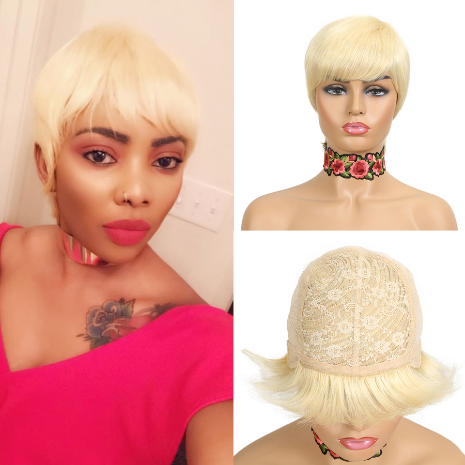 Sleek Short Human Hair Wigs Pixie Cut Wig 8 Inch 150% Density Brazilian Hair Wigs 613 Blonde Human Hair Wigs Simple Breathable