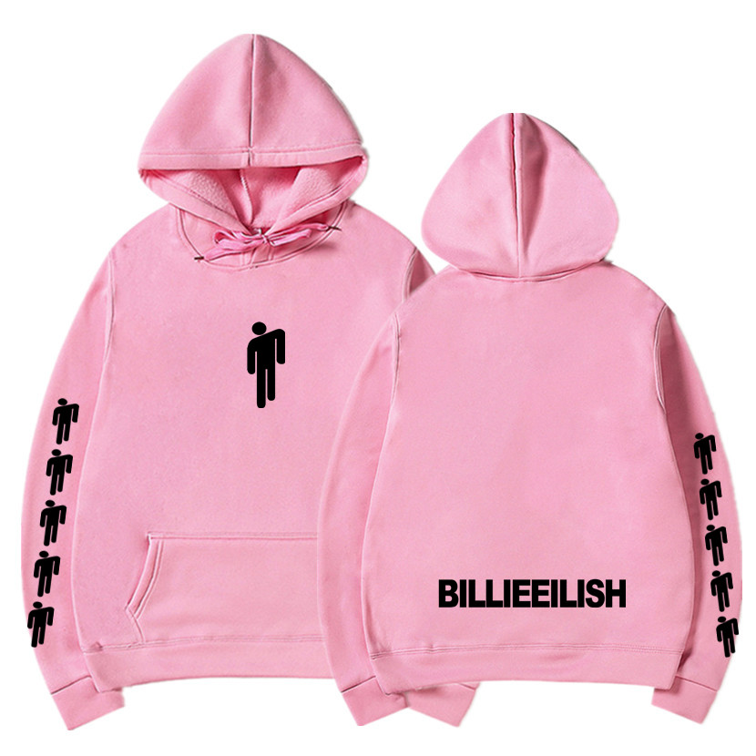Billie Eilish Fashion Hot Sale Casual Streetwear Hoodies Printed Hoodies Women/Men Pink Sweatshirts 2019