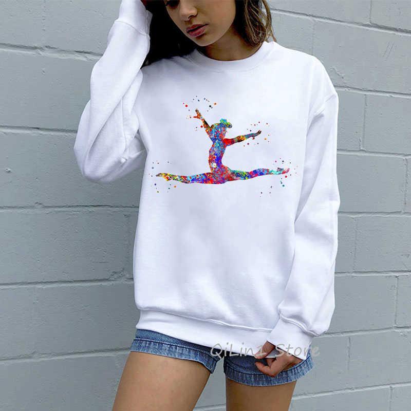 Acquerello ginnastica della ragazza della stampa di Moda tuta 90s streetwear donne divertente carino con cappuccio oversize kawaii vestiti FAI DA TE felpa