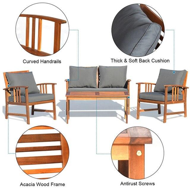 4 Pcs Wooden Patio Furniture Set  4