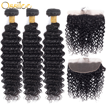 Deep Wave Bundles with Frontal Brazilian Human Hair Weave Bundles with Frontal Closure 3/4 Bundles with Frontal Ossilee RemyHair