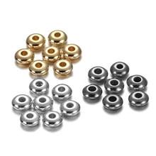 Perles d'espacement, rondes et plates, 5 6mm, pour la fabrication de bijoux, accessoires, 200 à 400 pièces/lot