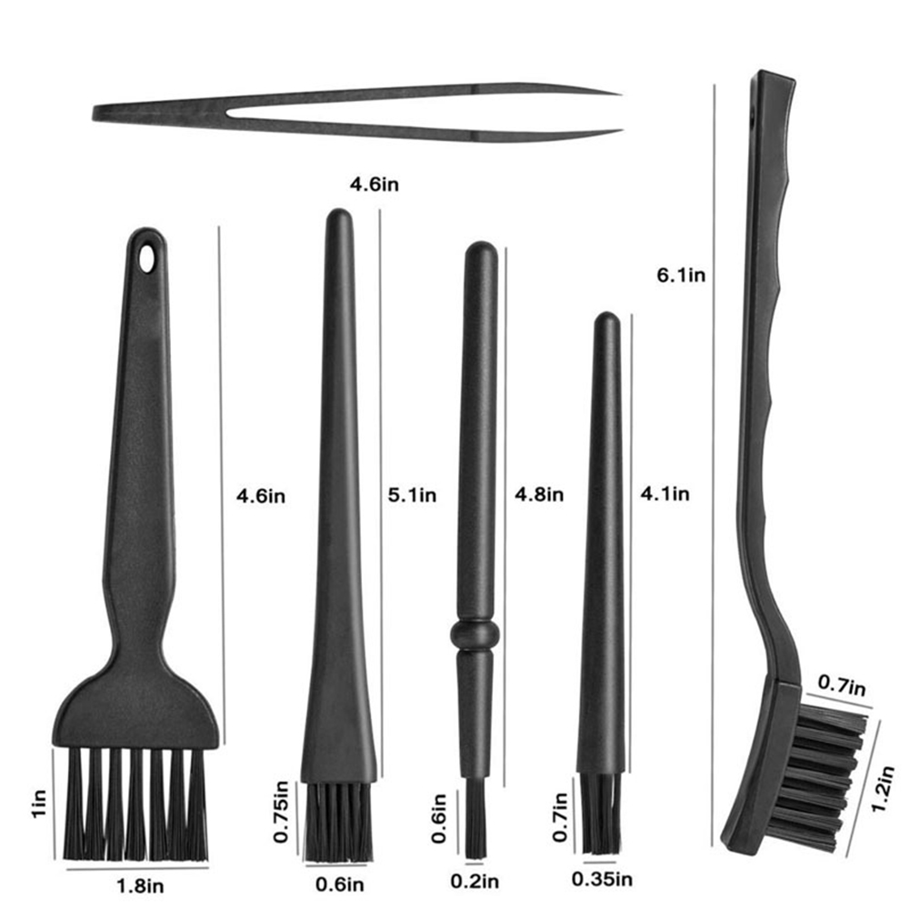 Купить с кэшбэком 6Pcs Plastic Portable Handle Anti Static Cleaning Keyboard PCB Gaps Brushes Computer Cleaning Tool Computer Accessories air dust