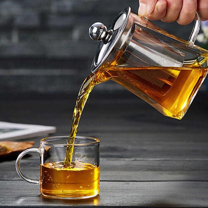 Resistente al calore Teiera di Vetro Con Infusore In Acciaio Inox Riscaldata Contenitore del Tè Pentola di Buona Chiaro Bollitore Filtro Quadrato Cestini
