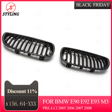 E92 E93 Carbon Fiber racing Grille For BMW Front Bumper Lip kidney Grille Gloss Black E90 E92 E93 M3 Pre-Lci 2005 2006 2007 2008