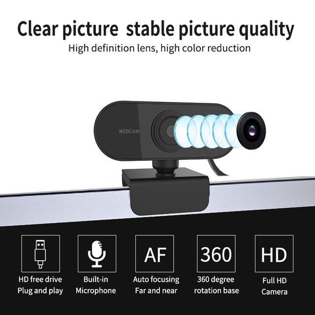 Webcam 1080p completo hd câmera web com microfone usb plug webcam para computador portátil mac desktop youtube skype mini câmera 3