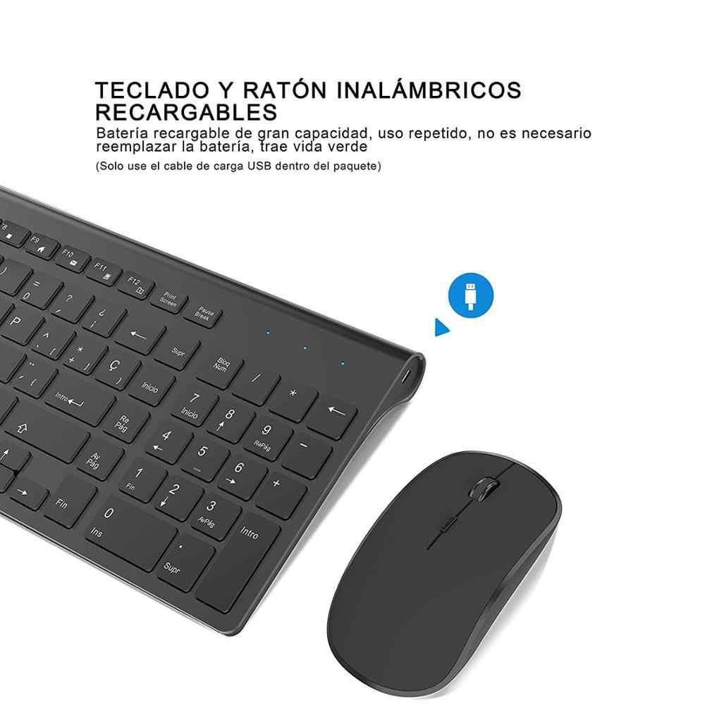 Spaans Draadloze Toetsenbord En Muis Combinatie, 2.4 Gigahertz Stabiele Verbinding Oplaadbare Batterij, Draagbare Mute Zwart