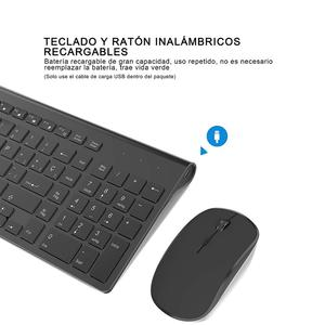 Image 3 - Spanish wireless keyboard and mouse combination, 2.4 gigahertz stable connection rechargeable battery, portable mute black