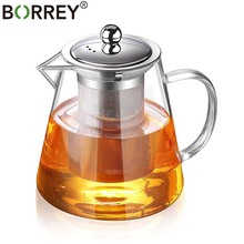 Borrey Thee Infuser Pot Hittebestendig Glas Theepot Cup Met Filter Bloem Thee Pot Oolong Puer Waterkoker Glas Koffie thee Pot 1300Ml