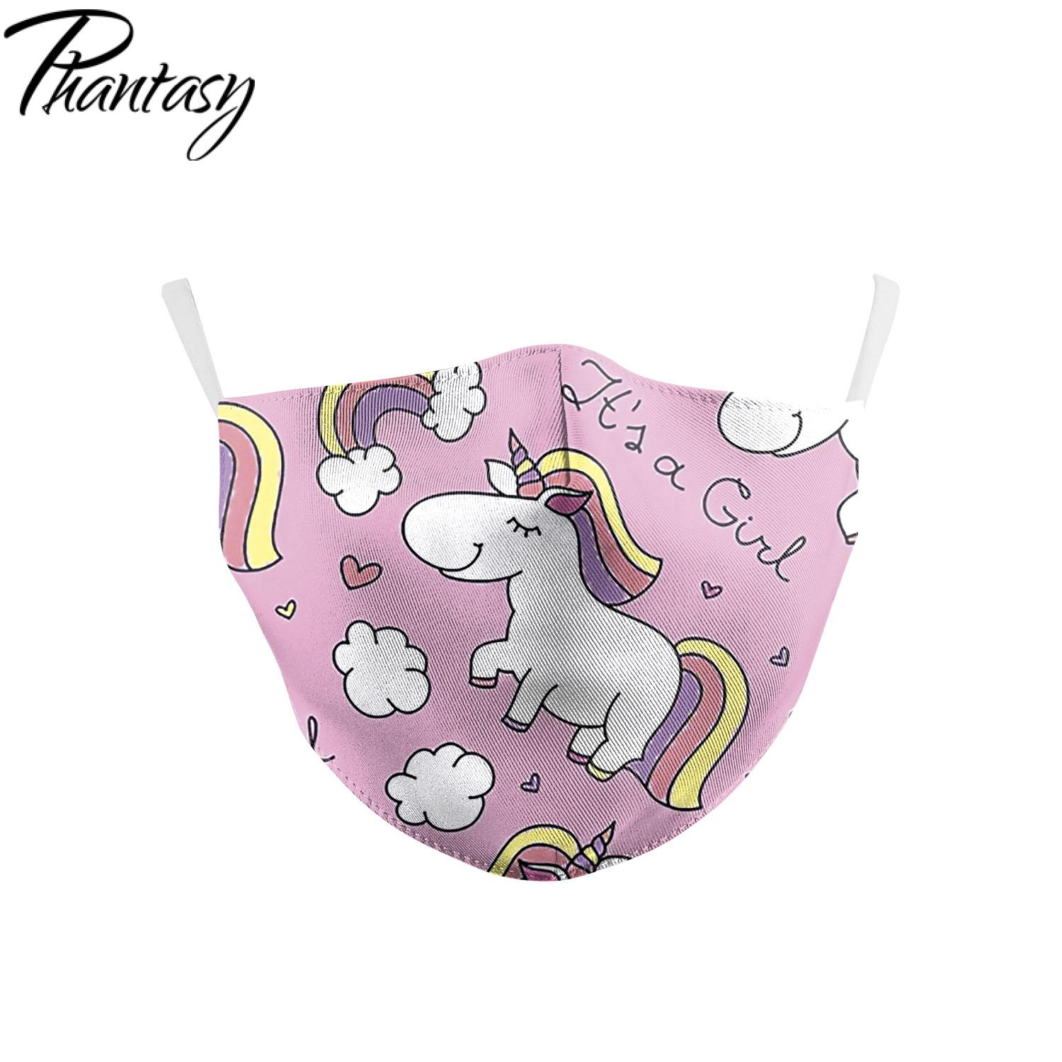 Phantasy Children's Baby Cute Cartoon Unicorn Printed Face Mask Washable Protective Dust-Proof Anti-Fog Pluggable Filter Masks