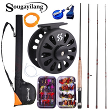 Sougayialng 2 7M 8 86FT #5 6 Fly Fishing Rod Set Fly Rod and Fly Reel Combo with fishing Bag Line Accessories lures Box Combos cheap Sougayilang 2 7 m Rod+Reel+Line LAKE River Reservoir Pond stream Fly fishing Beginner 1 2 89M 1 8mm 0 7in 8 5mm 0 334in