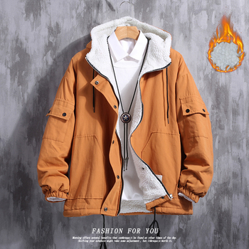 Winter Lamb Hair Jacket Men Warm Thick Parka Men Fashion Pure Color Cotton Hooded Coat Man Loose Tooling Jacket Male Clothes