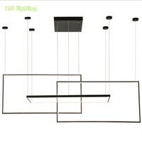 Современный Алюминий светодиодный Люстра прямоугольные минималистский гостиная, холл подвесной светильник обеденная подвесной светильни