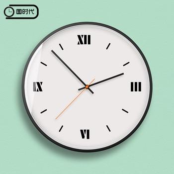 Modern Minimalist Wall Clock Nordic Roman Round Metal Wall Clock Bedroom Living Room Duvar Saati Watch Wall Kitchen AA50ZB