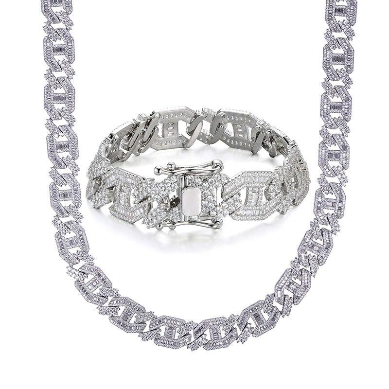 15MM lourd Miami Baguette Zircon glacé lien cubain collier AAA CZ broche réglage colliers Hip Hop bijoux 18 ''24'' - 2