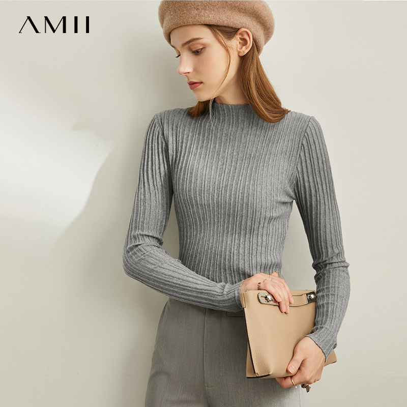 Amie Small Fresh Fashion New Spring Micro Turtleneck Crinkled Vertical Pattern Sweater 11920748
