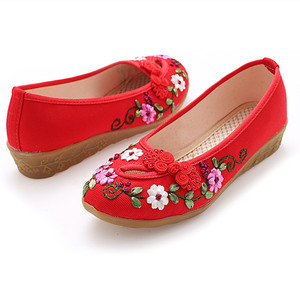 Image 4 - Classic cloth shoes casual shoes retro disc buckle handmade embroidered shoes tendon soles womens shoes