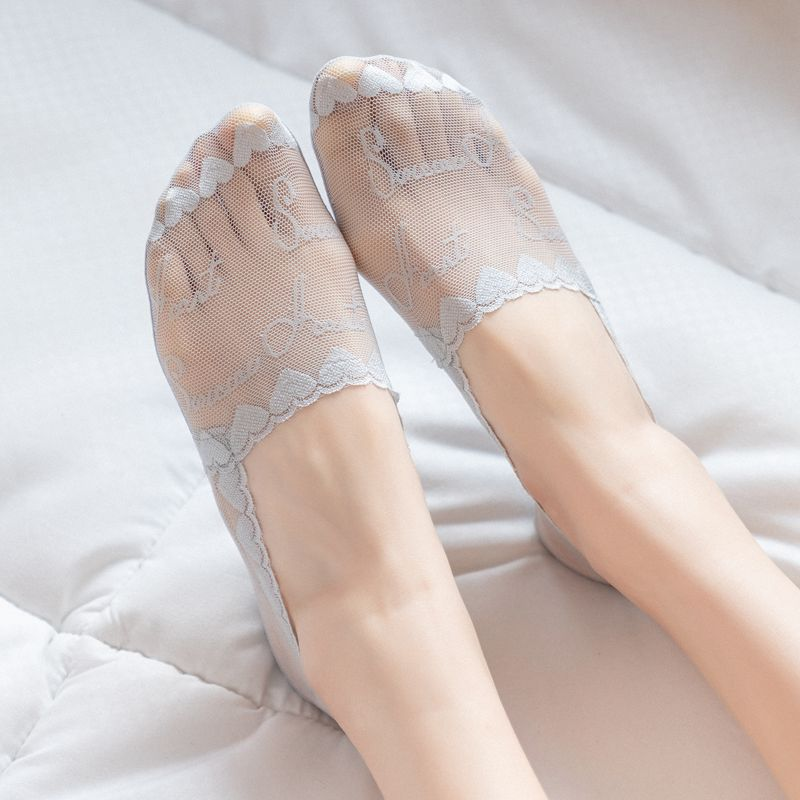 Women Sock 2020 Slippers Socks Short Solid Color Nylon Lace Summer Thin Cute Heart Women No Show Mesh Socks Women Invisable
