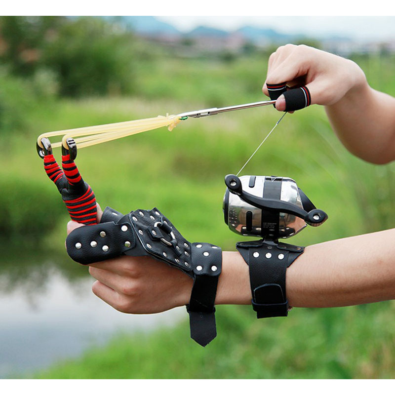 Fishing Slingshot Set Hunting Catapult Suit  Fishing Reel+Dart+Handguard+Rubber Tube Fishing Wheel Outdoor Shooting