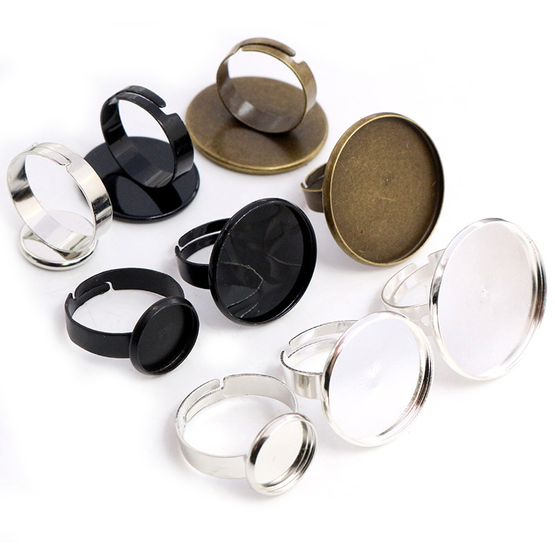 12mm 20mm 25mm 10pcs 4 Colors Plated Adjustable Ring Settings Blank/Base,Fit 12-25mm Glass Cabochons,Buttons Ring Bezels