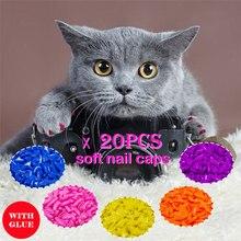 20 шт Силиконовые Мягкие кошачьи колпачки для ногтей/кошачья лапа/Pet защита для ногтей/кошачья Крышка для ногтей с бесплатным клеем и аппликатором