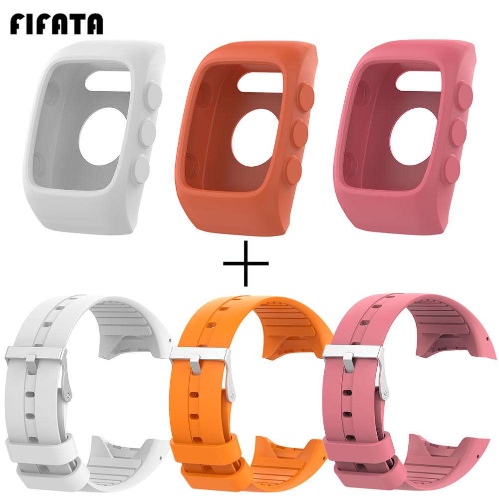 FIFATA Soft Silicone Watch Band Strap + TPU Full Soft Case Cover For Polar M430 M400 Smart Watch 2In1 Replacement Accessories