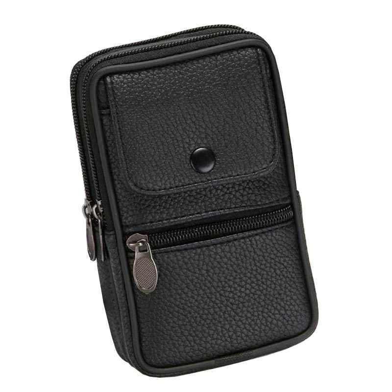 Erkekler için Fanny paketi cep telefonu kılıfı erkek siyah kahve tuval çile fermuar bozuk para cüzdanı çanta çanta rahat bel paketi erkek kemeri çanta çanta