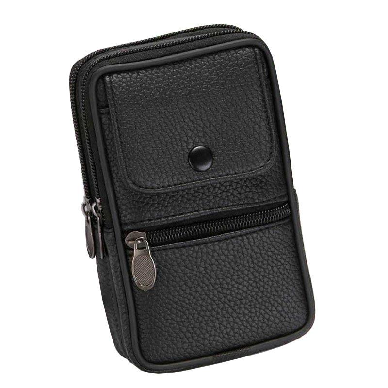 Men Fanny Pack Mobile Phone Case Male Black Coffee Canvas Hasp Zipper Coin Purse Burse Bags Casual Waist Pack Man Belt Bag Purse