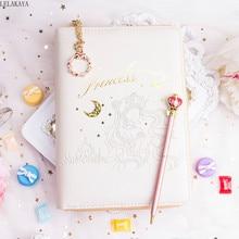 Sailor Moon sakura Action Figura impresa de cuero sintético, funda para libro, pluma de Luna encantadora, juego de libros lácteos, manual de cuaderno de regalo para niña