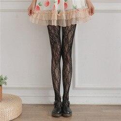 Hollow lace mesh stockings bottoming pantyhose Japanese Lolita retro flower vine white silk socks women Sexy stockings fishnet