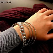 Salircon Multilayer Alloy Chain Bracelet Gold Silver Charm Twisted Exquisite Geometric Ladies Jewelry