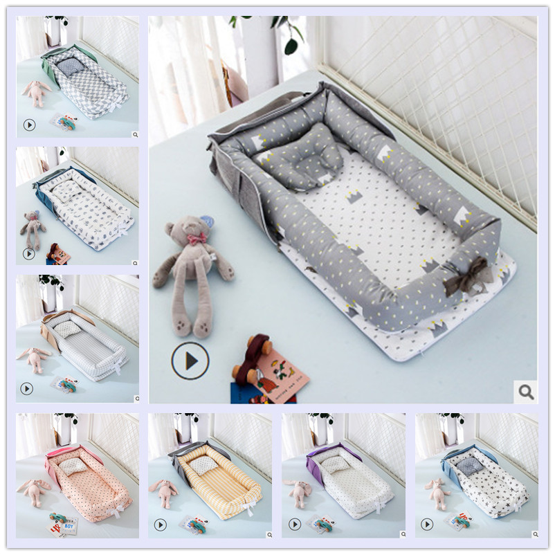 Portable Baby Nest Bed Crib Travel Newborns Cots Nursery Sleep Nest Infant Cradle Baby Bassinet Children's Bumper Crib