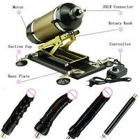 Sturdy Track Stronger Power Sex Machine Gun Automatic Vibrator Love Machine with 3 Big Black Dildos Attachment Adult Toys
