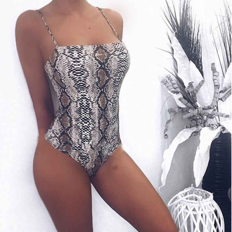 Bayan Backless Bodysuit Leotard Üst Kolsuz Yılan Derisi Baskılı Seksi Backless Romper Tulum Leopar Tulum Bodysuits