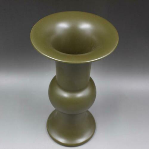 Vase jaune chinois à thé glacé monochromatique en porcelaine ancienne