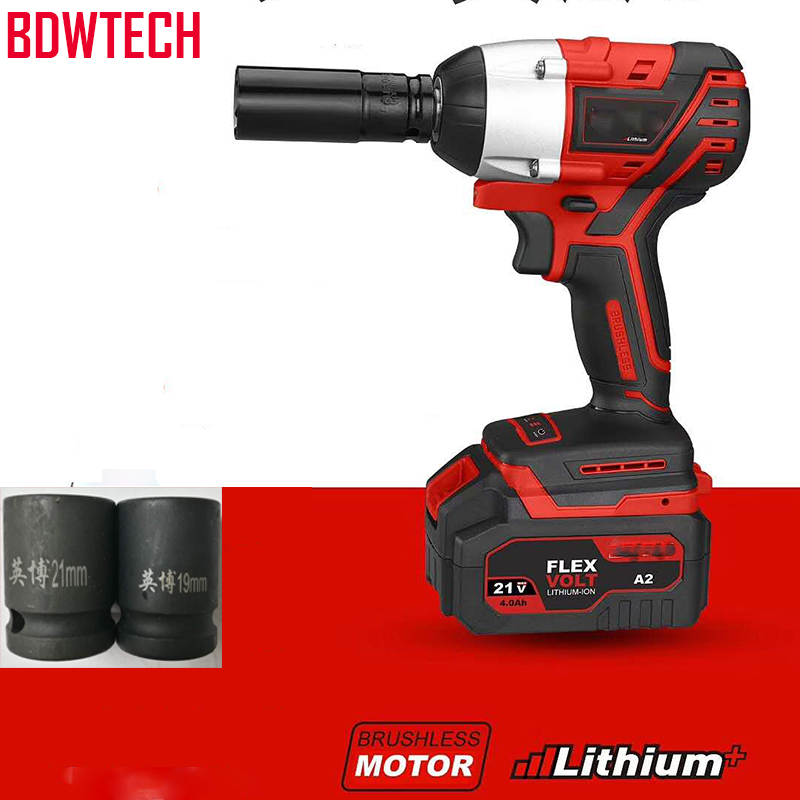 BDWTECH BTW01 Brushless Cordless Electric Wrench Impact Socket Wrench 21V 4000mAh Li Battery Hand Drill Installation Power Tools