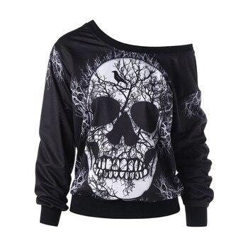 Women's Halloween Skull Funny Cartons Print Fashion Women Sweatshirt Loose Oversized Hoodie Drop-shoulder Sport Plus Size #T2Q 1