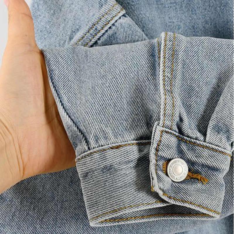 [Ewq] 2020 Herfst Nieuwe Patroon Revers Lange Mouwen Denim Patchwork Single Breasted Pockets Vintage Jas Vrouwen Jas Femals AH25701