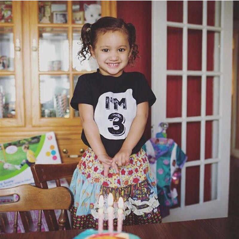 สีดำ TShirt เด็กจำนวน 1 2 3 4 พิมพ์ชายแขนสั้นวันเกิด PARTY เสื้อยืดเด็กทารกเด็กผู้หญิงฤดูร้อน Tops unisex TEE Tops