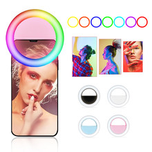 Clip-auf RGB Handy Selfie Ring Licht LED Multi-farbe Fotografie Ring Lampe Make-Up Ringlight für Telefon tablet Youtube Video