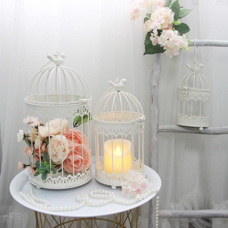 Птичья клетка подвесная Современная железная кованая Клетка Белый набор украшения висячий цветочный горшок суккулентные растения|Птичьи клетки и гнезда| | - AliExpress
