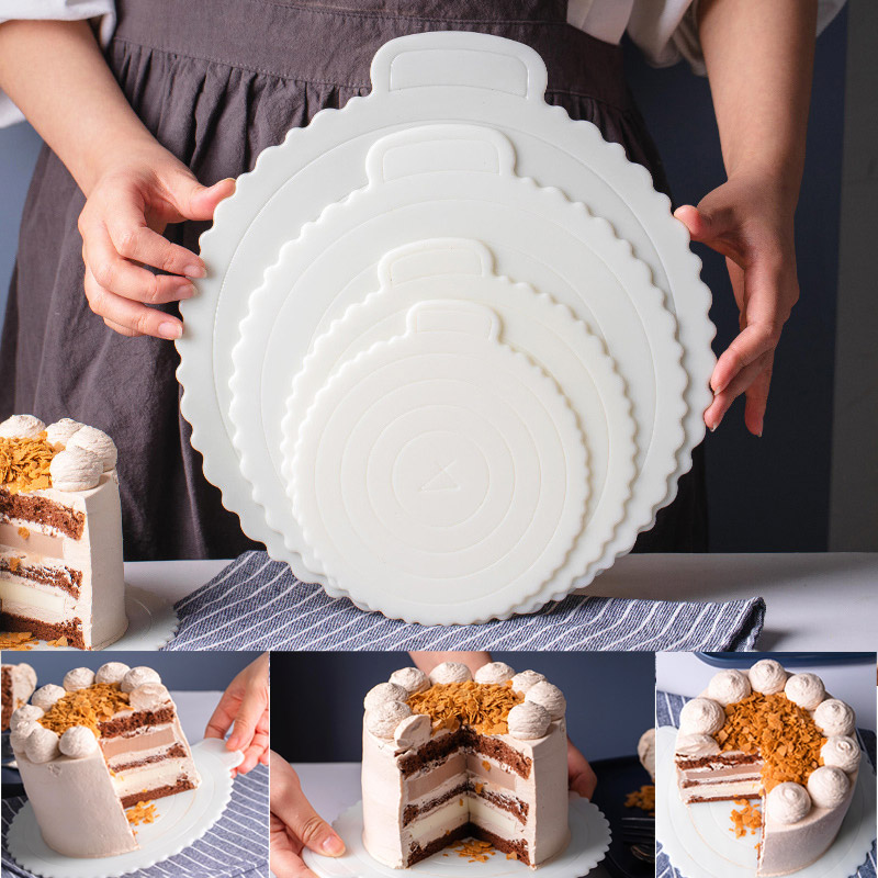 Reusable Round Mousse Cake Boards Plastic 4/6/8/10-Inch Round Tierd Cake Boards Cupcake Dessert Tray Combo Perfect for Party