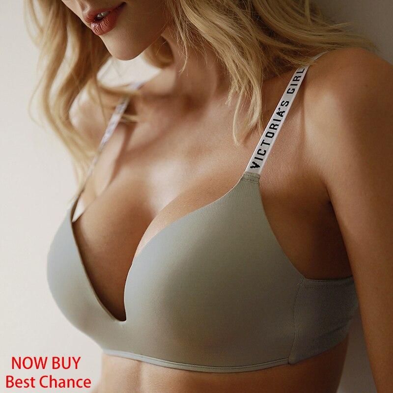 BEFORW Comfort Wireless Bras For Women Underwear Fashion Seamless Letter Straps Bra Sexy Lingerie Adjustable Push Up Bralette