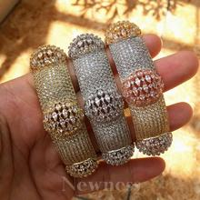 Newness Luxury Big Ball Mirco Pave Cubic Zircon Women Brand Bijoux Fashion Full lap Bangle Ring Sets Party